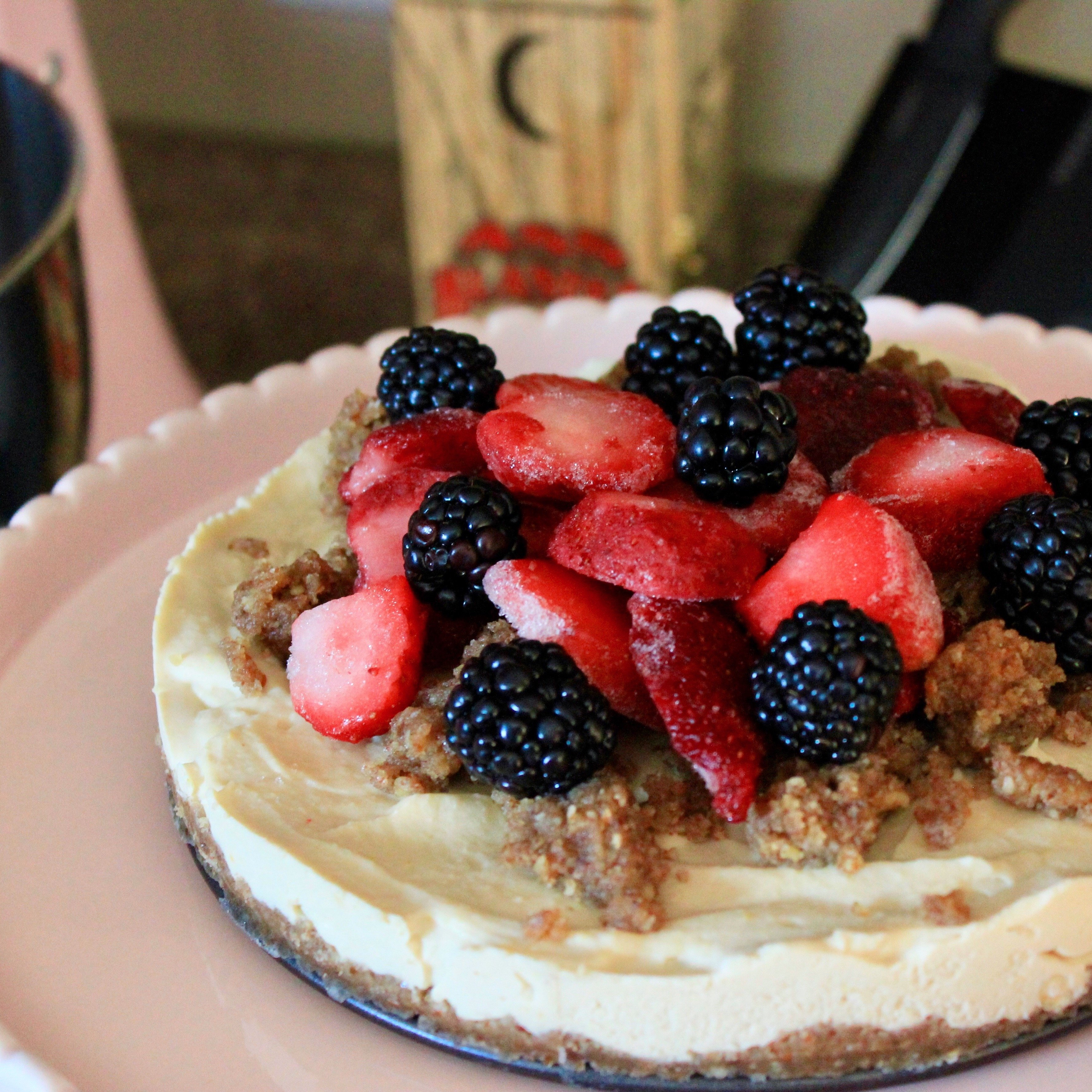 Granola-cereal-urban hippie-Vegan Meyer Lemon Cheesecake with Pecan & Date Crust with Berry Topping-recipe