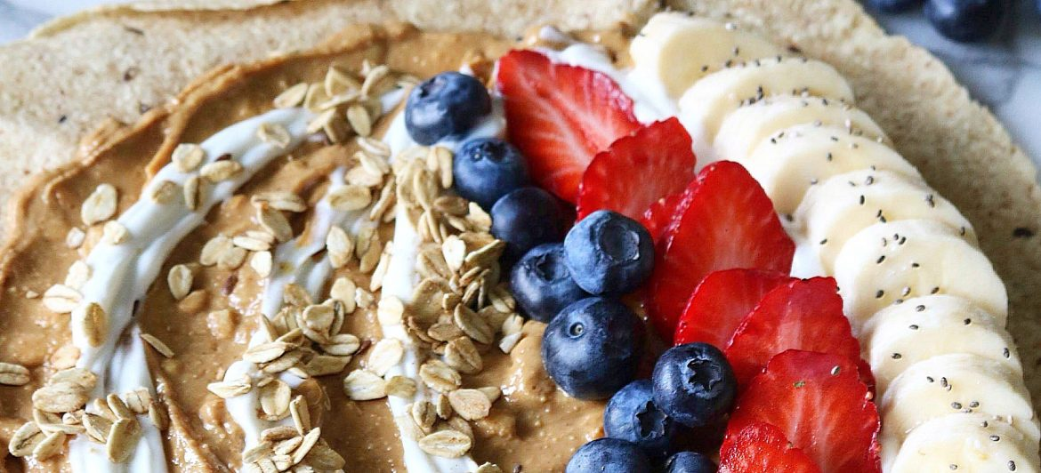 After School Snack Wrap: Peanut Butter, Bananas, Granola, Oh my!
