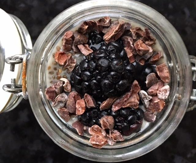 Chia Pudding with Blackberries and Cocoa Nibs