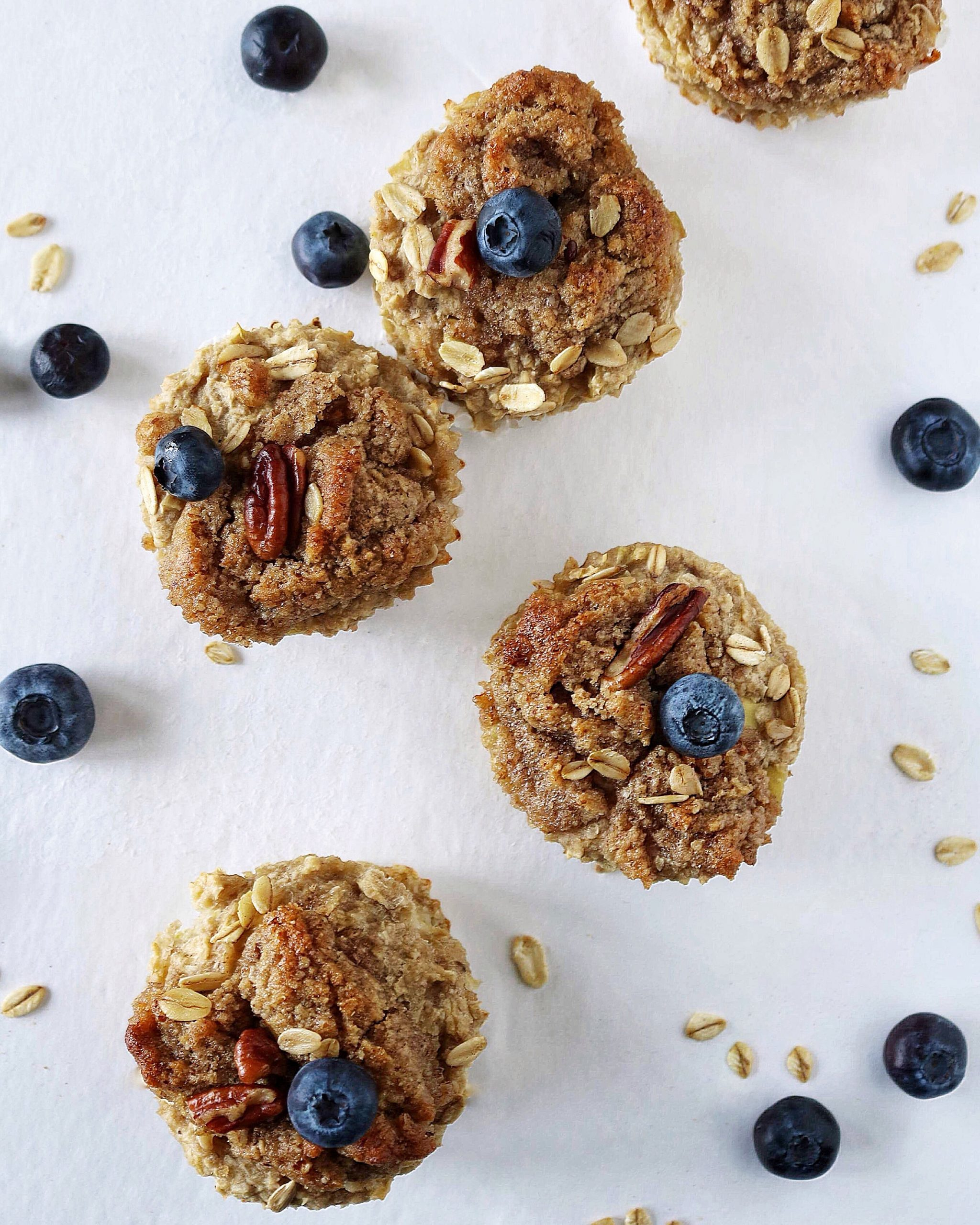 Blueberry muffins with blueberries and granola on top of the muffin